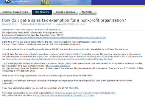 PA Sales Tax Exemption Form Thumbnail